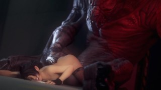 Catoon Tube : 3D Brunette Licked and Fucked by a Werewolf